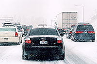 /images/133/2006-03-i70-cars-audi.jpg - #02808: black Audi A4 and cars, during blizzard on Highway I-70 west of Golden … March 2006 -- I-70, Golden, Colorado