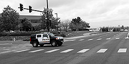 /images/133/2006-10-08-lone-hummer-bw-w.jpg - #02975: Police Hummer on Yosemite Road … Oct 2006 -- Yosemite Rd, Lone Tree, Colorado