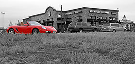 /images/133/2006-10-08-lone-porsche-bw.jpg - #02994: red Porsche at Starbucks Coffee in Lone Tree … Oct 2006 -- Yosemite Rd, Lone Tree, Colorado