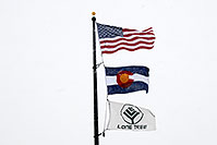 /images/133/2006-12-20-lone-police-flags.jpg - #03221: 3 flags - US flag, Colorado flag and Lone Tree flag … Dec 2006 -- Yosemite Rd, Lone Tree, Colorado
