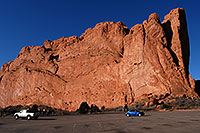 /images/133/2007-02-26-gods-kissing01.jpg - #03525: blue VW bug in front of rock of Kissing Camels … Feb 2007 -- Garden of the Gods, Colorado Springs, Colorado