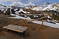 /images/133/2007-05-28-indep-bench.jpg - #03814: bench at top of Independence Pass … view of Mount Champion at 13,646 ft in the background … May 2007 -- Mount Champion, Independence Pass, Colorado