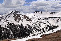 /images/133/2007-05-28-indep-mtns01.jpg - #03815: snowboarder walking at Independence Pass … view of Independence Mountain at 12,703 ft … May 2007 -- Independence Mountain, Independence Pass, Colorado