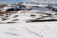 /images/133/2007-06-03-indep-hearts.jpg - #03838: hearts with Independence Pass at 12,095 ft to the left and Independence Mountain at 12,703 ft in the background … June 2007 -- Independence Mountain, Independence Pass, Colorado