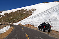 /images/133/2007-06-17-evans-bank-xte02.jpg - #03923: 20ft snowbanks at 11,500ft on a road up Mt Evans … June 2007 -- Mount Evans Road, Mt Evans, Colorado