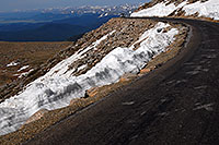 /images/133/2007-06-17-evans-road-morn.jpg - #03946: view from near 14,000 feet of a road up Mt Evans … June 2007 -- Mount Evans Road, Mt Evans, Colorado