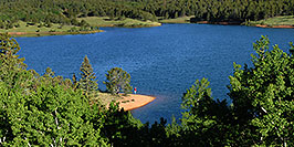 /images/133/2007-06-22-pikes-fishing-pano.jpg - #03979: A lone fisherman at 7am on Crystal Reservoir … June 2007 -- Crystal Reservoir, Pikes Peak, Colorado