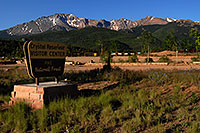 /images/133/2007-06-22-pikes-hut02.jpg - #03981: Crystal Reservoir Visitor Center with Pikes Peak in the background … June 2007 -- Crystal Reservoir, Pikes Peak, Colorado