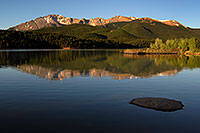 /images/133/2007-06-22-pikes-lake01.jpg - #03983: Morning reflection of Pikes Peak in Crystal Reservoir … June 2007 -- Crystal Reservoir, Pikes Peak, Colorado