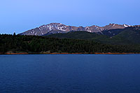 /images/133/2007-06-22-pikes-presun01.jpg - #03991: Pikes Peak at sunrise … a light beacon on the summit … June 2007 -- Crystal Reservoir, Pikes Peak, Colorado