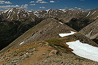 /images/133/2007-06-23-plata-view-down.jpg - #04018: Mt Elbert and other peaks - View along La Plata Peak trail  … June 2007 -- La Plata Peak, Colorado