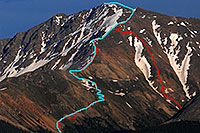 /images/133/2007-06-24-plata-eve-close3marked.jpg - #04043: Blue trail to the summit of La Plata Peak, and red path I took down (loose boulders underfoot for 3 hours)  … June 2007 -- La Plata Peak, Colorado