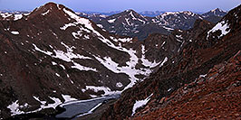 /images/133/2007-06-30-evans-bier05-pano.jpg - #04084: Mt Bierstadt (14,060 ft) on the left continuing into The Sawtooth on the right … view from Mt Evans … June 2007 -- Abyss Lake, Mt Bierstadt, Colorado