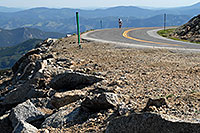 /images/133/2007-06-30-evans-road-bike.jpg - #04105: lone rider biking up Mount Evans Road at 9am  … June 2007 -- Mount Evans Road, Mt Evans, Colorado