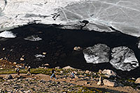 /images/133/2007-06-30-evans-sum-hike04.jpg - #04105: Hikers walking by partially frozen Summit Lake at 12,600 ft … June 2007 -- Summit Lake, Mt Evans, Colorado