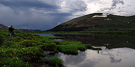 /images/133/2007-07-07-biers-ref-phot-pano.jpg - #04155: Photographer looking at Mt Bierstadt … evening reflections … July 2007 -- Guanella Pass, Mt Bierstadt, Colorado