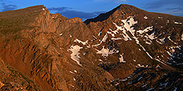 /images/133/2007-07-08-biers-late-eve-pano.jpg - #04173: Last rays of light on The Sawtooth (13,780 ft, left) and Mt Bierstadt (14,060 ft, right) … July 2007 -- The Sawtooth, Mt Bierstadt, Colorado