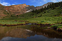 /images/133/2007-07-08-biers-reflectio1.jpg - #04175: Reflections of The Sawtooth (13,780 ft, middle) and Mt Bierstadt (14,060 ft, right) … July 2007 -- The Sawtooth, Mt Bierstadt, Colorado