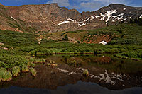 /images/133/2007-07-08-biers-reflectio2.jpg - #04176: Reflections of The Sawtooth (13,780 ft, middle) and Mt Bierstadt (14,060 ft, right) … July 2007 -- The Sawtooth, Mt Bierstadt, Colorado