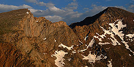 /images/133/2007-07-08-biers-saw-eve1-pano.jpg - #04185: The Sawtooth (13,780 ft, left) and Mt Bierstadt (14,060 ft, right) … July 2007 -- The Sawtooth, Mt Bierstadt, Colorado