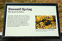 /images/133/2007-07-21-y-kepler-emer03.jpg - #04251: Emerald Spring sign in Kepler Cascades - 27 foot deep pool with sulfur deposits … July 2007 -- Kepler Cascades, Yellowstone, Wyoming