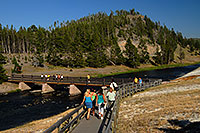 /images/133/2007-07-21-y-mid-bridge03.jpg - #04268: People returning from Excelsior Geyser Crater on a bridge over Firehole River … July 2007 -- Lower Geyser Basin, Yellowstone, Wyoming
