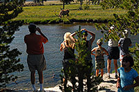 /images/133/2007-07-21-y-river-elk-ppl.jpg - #04274: People watching Bull Elk from roadside and across a river … July 2007 -- Yellowstone, Wyoming