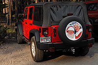 /images/133/2007-07-22-y-canyon-santa.jpg - #04291: Santa`s 2007 red Jeep Wrangler - Santa with white beard on board … July 2007 -- Canyon Village, Yellowstone, Wyoming