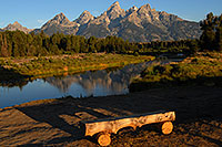 /images/133/2007-07-24-tetons-morn-bench.jpg - #04359: Bench in front of Snake River with Tetons in the morning … July 2007 -- Tetons, Wyoming