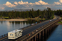 /images/133/2007-07-28-y-fish-bridge02.jpg - #04492: Motorhome on Fishing Bridge, over Yellowstone River … July 2007 -- Fishing Bridge, Yellowstone, Wyoming