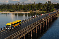 /images/133/2007-07-28-y-fish-bridge03.jpg - #04493: Yellow Yellowstone Park bus on Fishing Bridge, over Yellowstone River … July 2007 -- Fishing Bridge, Yellowstone, Wyoming