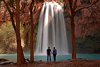 /images/133/2008-04-04-hav-havasu-0019.jpg - #05062: Matt and Jen by Cottonwood trees at Havasu Falls - 120 ft drop (37 meters) … April 2008 -- Havasu Falls, Arizona