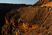 /images/133/2008-04-04-hav-hilltop-9454.jpg - #05066: View of parking lot of Hualapai Hilltop (5,194 ft) with 1,200 ft elevation drop to the Havasu Canyon … April 2008 -- Hualapai Hilltop, Havasu Falls, Arizona