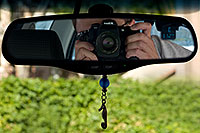 /images/133/2008-06-16-rearview-me-3440-3435-2820.jpg - #05490: +112 F degrees on June 16, 2008 - My Nikon D300 camera with 50mm f/1.8 lens … August 2008 -- Tempe, Arizona