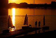 /images/133/2008-10-26-tempe-sailboats-40035.jpg - #05994: Kids Sailboats at North Bank Boat Ramp at sunset at Tempe Town Lake … October 2008 -- Tempe Town Lake, Tempe, Arizona