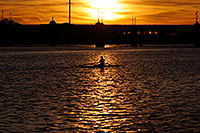 /images/133/2008-11-11-tempe-sculling-45480.jpg - #06040: Sculler at sunset on Mill Road bridge over Tempe Town Lake … November 2008 -- Tempe Town Lake, Tempe, Arizona
