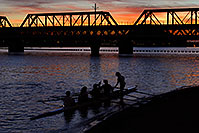 /images/133/2008-11-11-tempe-sculling-45709.jpg - #06042: Scullers at sunset on North Bank Boat Beach at Tempe Town Lake … November 2008 -- Tempe Town Lake, Tempe, Arizona