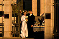 /images/133/2008-12-26-mesa-temple-brides-67611.jpg - #06598: Bride and Groom at West side of Mesa Arizona Temple … December 2008 -- Mesa Arizona Temple, Mesa, Arizona