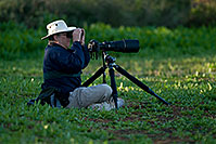 /images/133/2009-01-26-gilb-rip-photog-80971.jpg - #07041: Bird Photography requirements - big lens, low tripod, binoculars, hat, water bottle…(br)Photographer at Riparian Preserve … January 2009 -- Riparian Preserve, Gilbert, Arizona