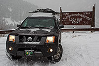 /images/133/2011-01-09-ouray-sign-48986.jpg - #09061: Xterra at the lookout point over Ouray … January 2011 -- Ouray, Colorado