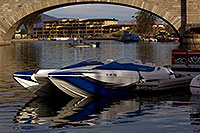 /images/133/2011-04-02-havasu-bridge-boat-65581.jpg - #09116: Boat at London Bridge in Lake Havasu City … April 2011 -- London Bridge, Lake Havasu City, Arizona