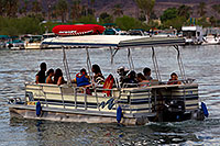 /images/133/2011-04-02-havasu-bridge-boat-65616.jpg - #09117: Pontoon boat near London Bridge in Lake Havasu City … April 2011 -- London Bridge, Lake Havasu City, Arizona