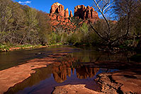/images/133/2011-04-10-sedona-cat-river-66386.jpg - #09131: Cathedral Rock and Oak Creek in Sedona … April 2011 -- Cathedral Rock, Sedona, Arizona