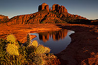 /images/133/2011-04-10-sedona-cat-river-66436.jpg - #09139: Cathedral Rock reflection in Sedona … April 2011 -- Cathedral Rock, Sedona, Arizona