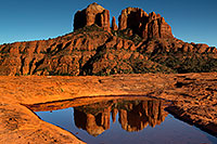 /images/133/2011-04-10-sedona-cat-waterholes-66409.jpg - #09135: Cathedral Rock reflection in Sedona … April 2011 -- Cathedral Rock, Sedona, Arizona