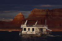 /images/133/2011-07-11-powell-boats-82505.jpg - #09385: Houseboat in the evening at Lake Powell … July 2011 -- Lake Powell, Arizona