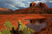 /images/133/2011-08-01-sedona-waterholes-89501.jpg - #09407: Rainbow by Cathedral Rock in Sedona … August 2011 -- Cathedral Rock, Sedona, Arizona