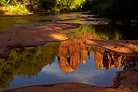 /images/133/2011-08-08-sedona-cathedral-89685.jpg - #09404: Cathedral Rock reflection in Oak Creek in Sedona … August 2011 -- Cathedral Rock, Sedona, Arizona