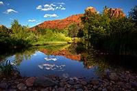 /images/133/2011-08-11-sedona-cathedral-pond-90399.jpg - #09414: Cathedral Rock reflection in Sedona … August 2011 -- Cathedral Rock, Sedona, Arizona