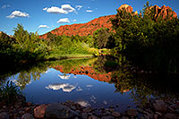 /images/133/2011-08-11-sedona-cathedral-pond-90404.jpg - #09415: Reflection of Cathedral Rock in Sedona … August 2011 -- Cathedral Rock, Sedona, Arizona